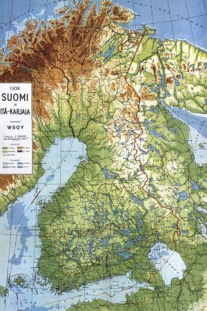 Finlands karta från år 1939 med den dåvarande gränsen i öst.