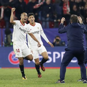 Sevillas spelare firar mål, CL 2017.
