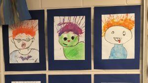 Teckningar på skolvägg