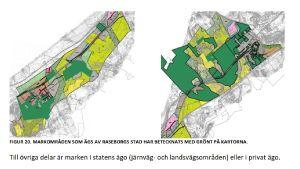 En karta som visar Raseborgs stads markägor på området Horsbäck-Läpp.