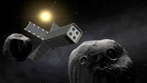 Illustrationsbild av en satellit nära ett asteroidpar.