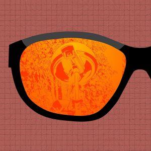 Aurinkolasit joista heijastuu valvontakamera, grafiikka.