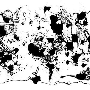 Ett kartmotiv i bläck av konstnären Egs.