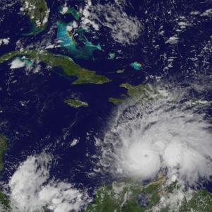 Sattelitbild på orkanen Matthew (2016) påväg mot Jamaica