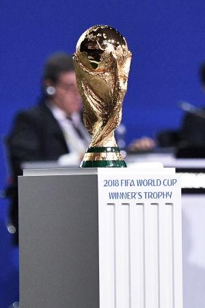 VM-pokalen står på ett bord