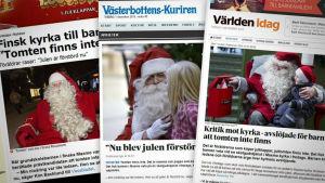 Bild på jultmten i vitt skägg och röda kläder i svenska medier.