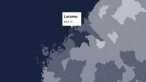 Karta som visar att Sauli Niinistös stöd i Larsmo var 84,3%