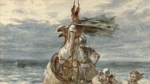 Målning avbildar viking, konstnär Frank Dicksee