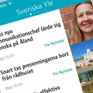 En skärmdump av nyhetskollen-appen.