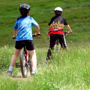 två pojkar cyklar i gräset