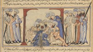 Detail of miniature from the Compendium of Chronicles by Rashid al-Din. Shows members of the Quraysh tribe, who controlled the area around Makkah (Mecca) in consultation regarding the proscription of their kinsmen, the Banu Hashim and the Banu Abd al-Mutt