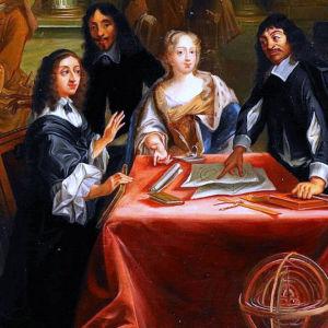 Målning som förestäåller drottning Kristina och filosof Descartes samtala vid ett bord.