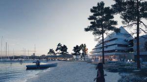 Arkitektskiss över hur det kunde se ut i Pargas gästhamn i framtiden.