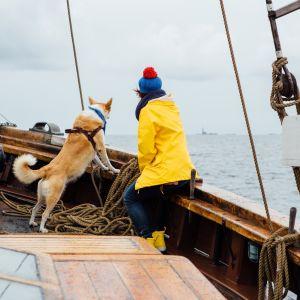 Nainen ja koira puisen ison purjelaivan kannella, katsovat horisonttiin.