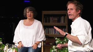 Kirjailijat Monika Fagerholm ja Peter Høeg