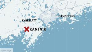 Karta med Kantvik i Kyrkslätt.