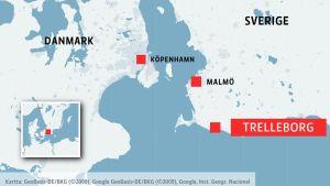 Karta med Trelleborg.