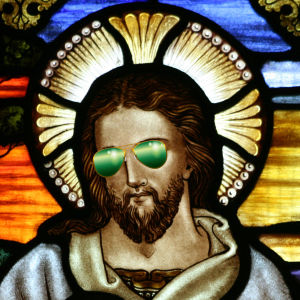 Jesus med gröna solglasögon.