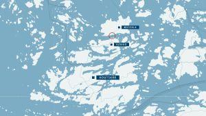 Karta över färjpasset Mossala-Björkö (karta: Google).