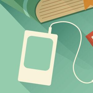 Illustration med böcker, en ipod med hörlurar och en öppen bok där en person skriver.