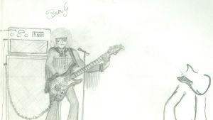Teckning av Ben Granfelt, en gitarrist med förstärkare
