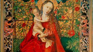 Maria i rosengård. Tyskt 1450-tal. Kunde vara en R. gallica officinalis.