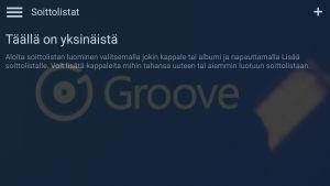 Groove Music -suoratoistopalvelun tyhjä soittolistanäkymä