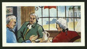Kaffedrickare på 1700-talet. Teckning.