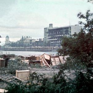 Sodassa vaurioituneen Viipurin Eteläsatamaa 1941.