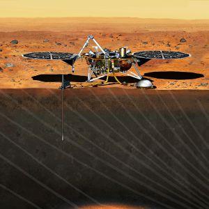 Skissad bild på hur Insight kommer att se ut på Mars yta.