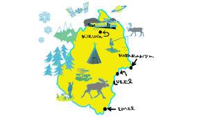 Kuvitettu kartta Pohjois-Ruotsista