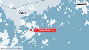 Karta som visar Sommaröarna i Esbo