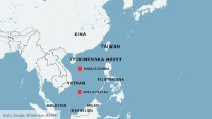 karta med det sydkinesiska havet och länder som omringar det.