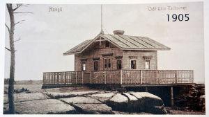 Det lilla caféet på Lilla Tallholmen i Hangö år 1905. Kiosken blev senare De fyra vindarnas hur.