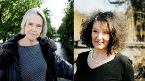 Ett bildkollage med en bild av Merete Mazzarella och en av Monika Fagerholm.