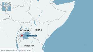 Karta över Tanzania och Uganda.