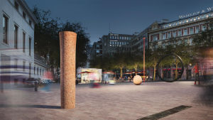 Konstverket består av fyra olika delar, en pelare, ett klot, en stång och en cirkel.