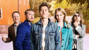 Kimmon kolmas tuotantokausi: Nissinen (Kari Hietalahti), Riku (Miika Laakso), Kimmo (Jussi Vatanen), Ulla (Malla Malmivaara) ja  Stenfors (Tommi Liski).