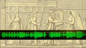 Kollaasi: Uhritoimitus Delfoin temppelissä, kirjasta The Boys' And Girls' Herodotus (1884). Piirroksen päällä kuva äänenkäsittelyohjelman näytöstä.