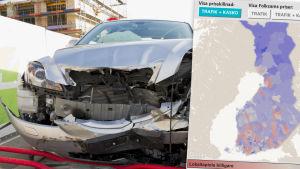 Bil som varit med om en olycka