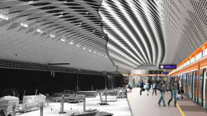 Datornanimerad bild av metrostationen i Mattby, samt hur stationen såg ut i verkligheten i juni 2016.