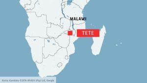 Karta som visar Tete i  Moçambique