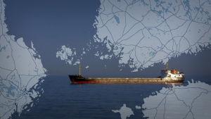 Montage av en karta över Finska viken och en tanker