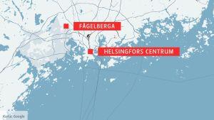 Karta som visar Fågelberga och Helsingfors centrum