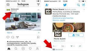Reklam på Instagram och Twitter.