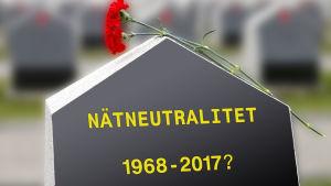 Gravsten för nätneutraliteten (illustration).