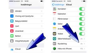 Pilar som visar var du kan aktivera Apples iCloud-nyckelring för att hantera dina lösenord.