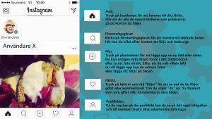 Bild med förklaringar på olika ikoners funktion i Instagram.