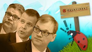 Bildcollage som föreställer regeringen som ignorerar en nyckelpiga, som står med en Folktinget-skylt.
