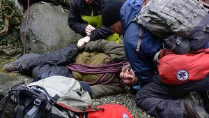 en simulerad klätterolycka